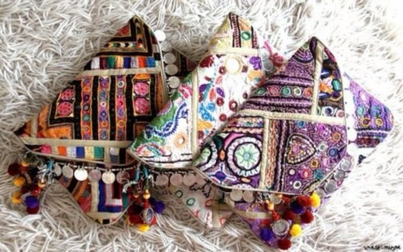 ethnic boho bag banjara hmong clutch tassel coins colorful indie purse