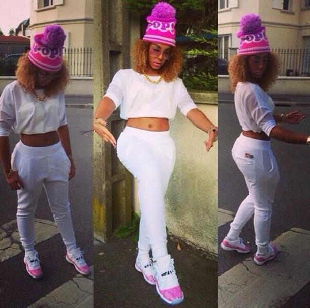 b1df4bbef168c5 pants white pink beanie hat jordans air jordan crop tops gold chain glasses  watch jewels shoes