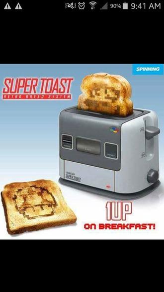 home accessory toaster mario gaming toast super mario nes nintendo food technology geek mario bross kitchen funny