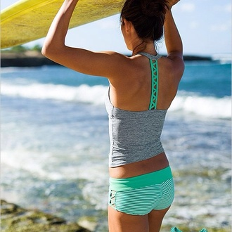 swimwear tankini boy short teal grey swimwear summer razorback bikini razorback style striped bikini beach beach wear