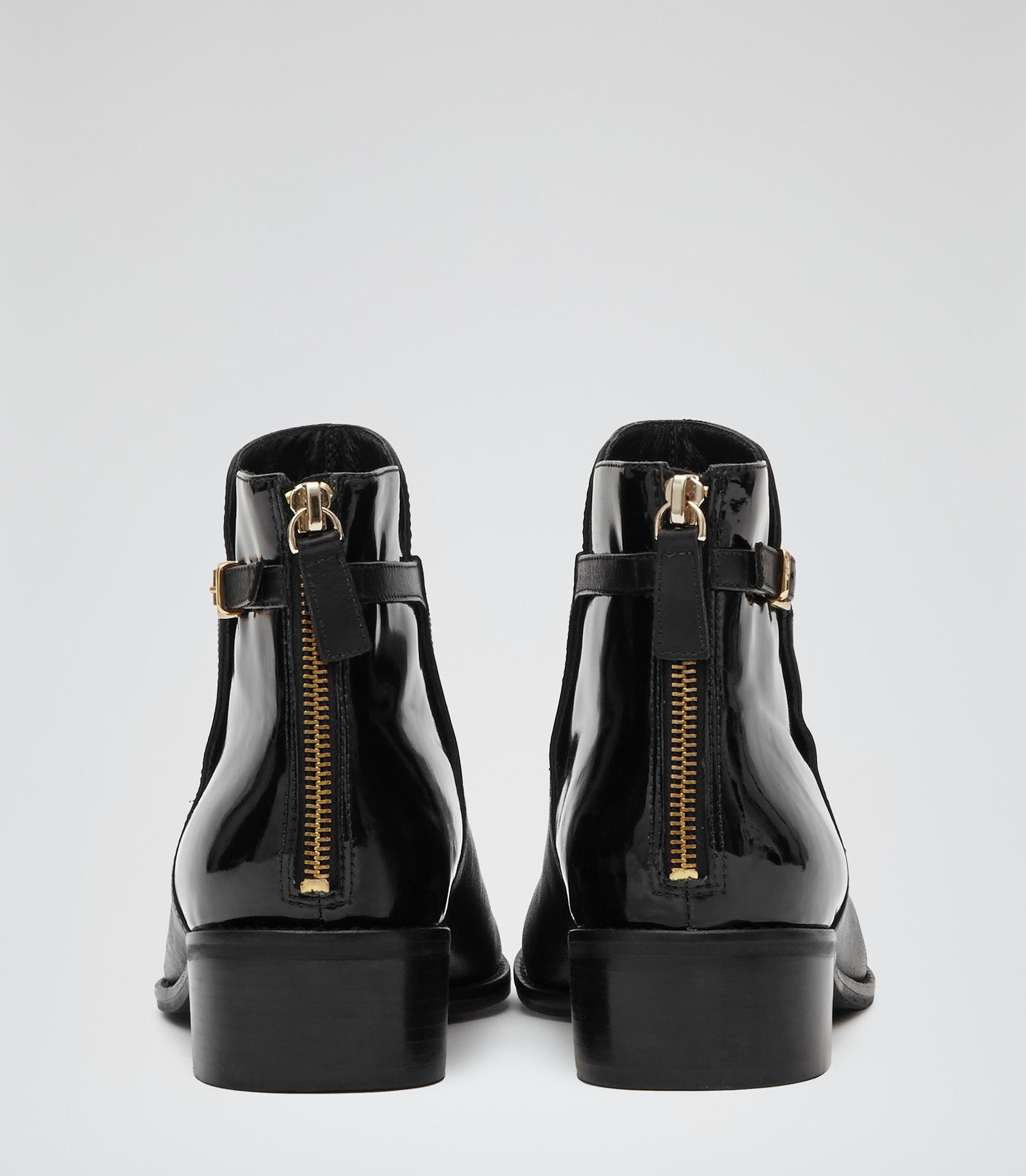 Fleur Black Flat Ankle Boots - REISS
