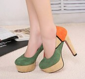 shoes,pumps,high heels,high,heels,yellow,orange,green,classic,pretty