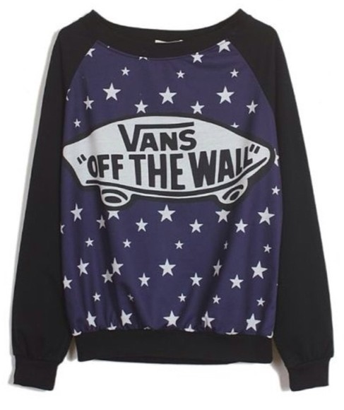 vans sweater vans authentic black stars