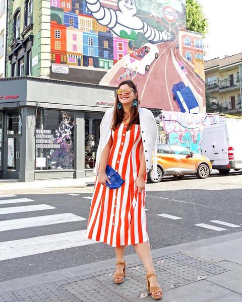 fashion foie gras blogger dress cardigan clutch striped dress sandals white jacket spring outfits
