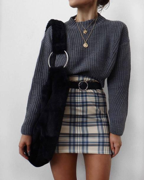 sweater tumblr grey sweater knit knitwear knitted sweater mini skirt skirt plaid plaid skirt bag furry bag