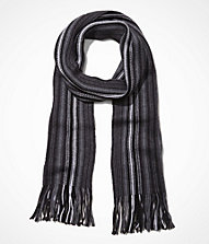 MERINO WOOL STRIPED FRINGED SCARF | Express