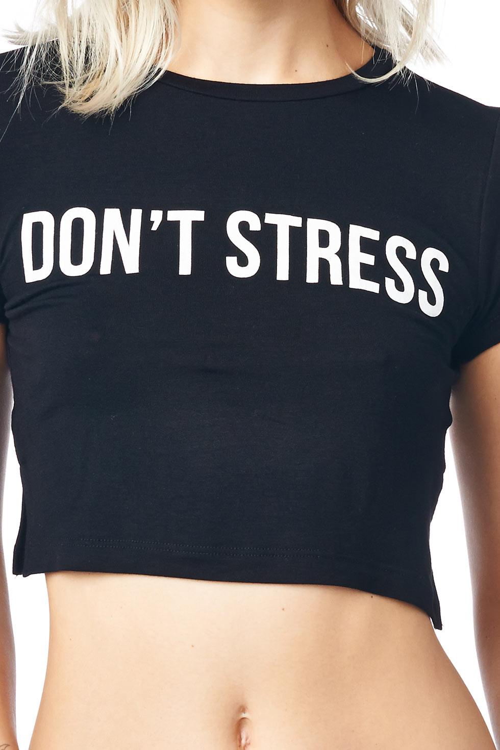 Black don't stress crop top