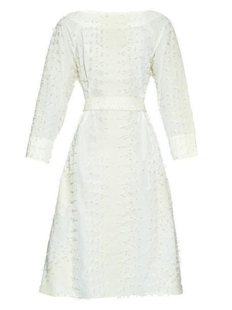 TRADEMARK Tassel waist-tie cotton-blend dress in ivory