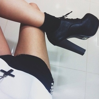high celebrity style booties shoes platform's platform lace up boots