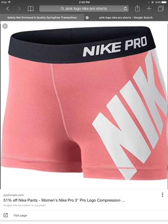 shorts nike short nike pros nike shorts spandex pink white elasticated waistband