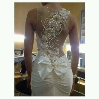 dress white pearl bow dress