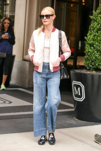 jacket jeans wide-leg pants kate bosworth flats sunglasses top streetstyle satin bomber