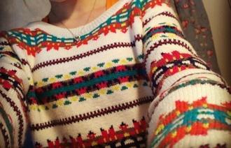 orange white sweeter christmas sweater winter sweater tribal pattern tribal sweater
