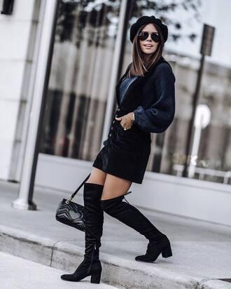 skirt tumblr mini skirt black skirt sweater black sweater knit knitwear knitted sweater boots black boots over the knee boots over the knee beret bag hat skirt with suspenders navy navy sweater