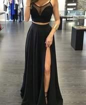 top,black,luxury,dress,summer,skirt,black dress,two-piece,two piece dress set,black skirt,long skirt,maxi dress,prom dress,slit dress,mesh,matte,tumblr,long,flow,prom,blouse,v neck,crop tops