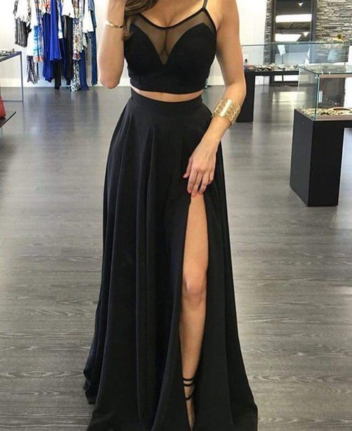 top black luxury dress summer skirt black dress two-piece two piece dress set black skirt long skirt maxi dress prom dress slit dress mesh matte tumblr long flow prom blouse v neck crop tops v neck