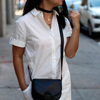looks by lau blogger jewels dress bag button up choker necklace shoulder bag mini bag t-shirt dress absolutemarket