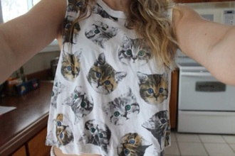 shirt cats top tank top white top white cat face
