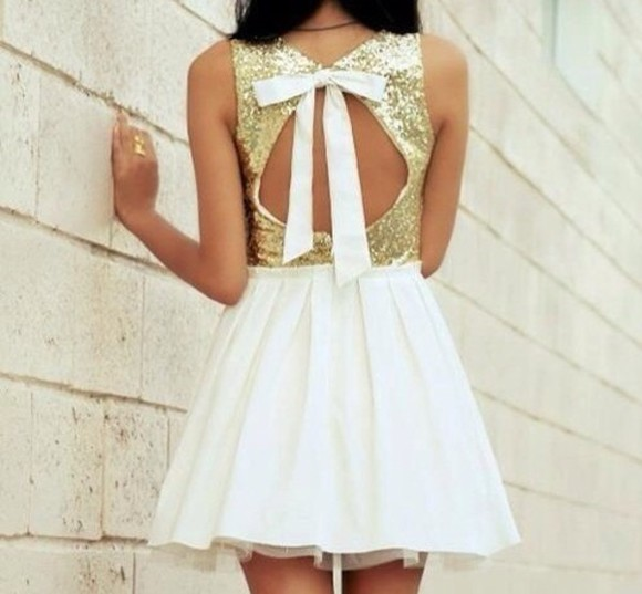 dress bows Bow Back Dress white dress glitter sparkly dress beautiful