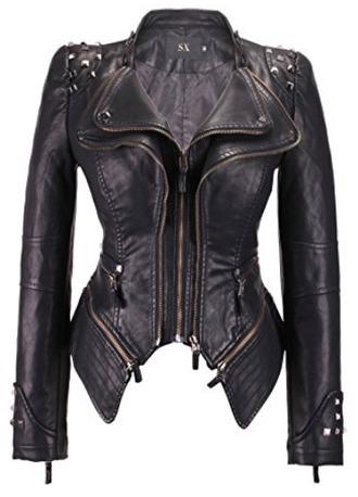 jacket black leather jacket trendy punk rock biker