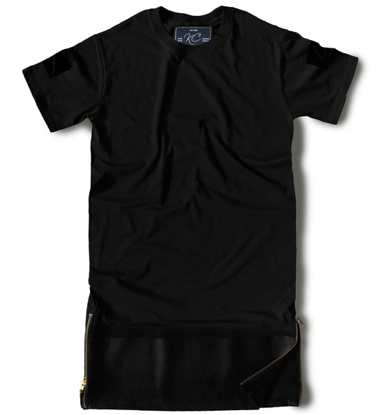 Premium Elongated Leather T shirt - Black/Black   Karactor Clothing