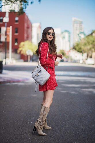 dress dots dress red dress bag boots sunglasses ruffle dress