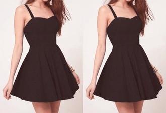 dress black dress high heels skater skirt