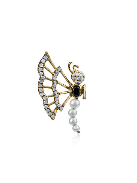 Yvonne Léon women butterfly pearl gold yellow grey metallic jewels