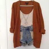 jacket,sweater,cardigan,jewels,tank top,shorts,orange,white,demin shorts,shirt,knitted cardigan,necklace,cut off shorts,wool,brown,hipster,cozy,burnt orange,brown cardigan