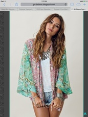 jacket,kimono,shorts,dress,coat,jewels,cardigan,top,blue,pink,pattern,hippie,boho,festival,green,blouse,boho chic,paisley,multicolor,cute outfits,denim shorts,sash,cover up