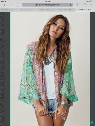 jacket kimono shorts dress coat jewels cardigan top blue pink pattern hippie boho festival green blouse boho chic paisley multicolor cute outfits denim shorts sash cover up