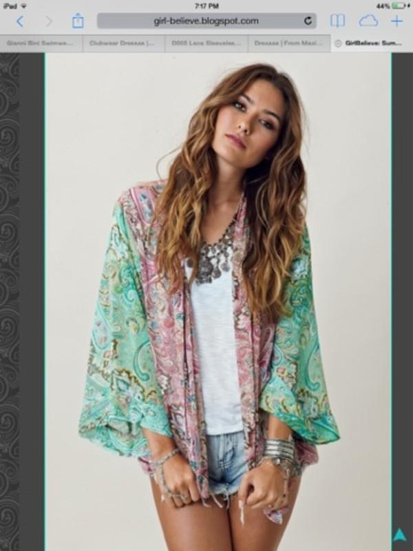 jacket kimono shorts dress coat jewels cardigan top kimono blue pink pattern hippie boho festival green blouse boho chic paisley multicolor multicolor cute outfits denim shorts sash cover up