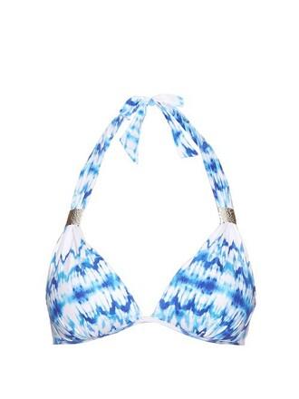 bikini bikini top white blue swimwear