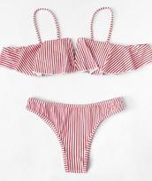 swimwear,girly,girly wishlist,red,white,stripes,bikini,bikini top,bikini bottoms,two-piece,swimwear two piece,matching set,off the shoulder