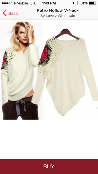 crochet rose knitwear slanted hem crop top sweater