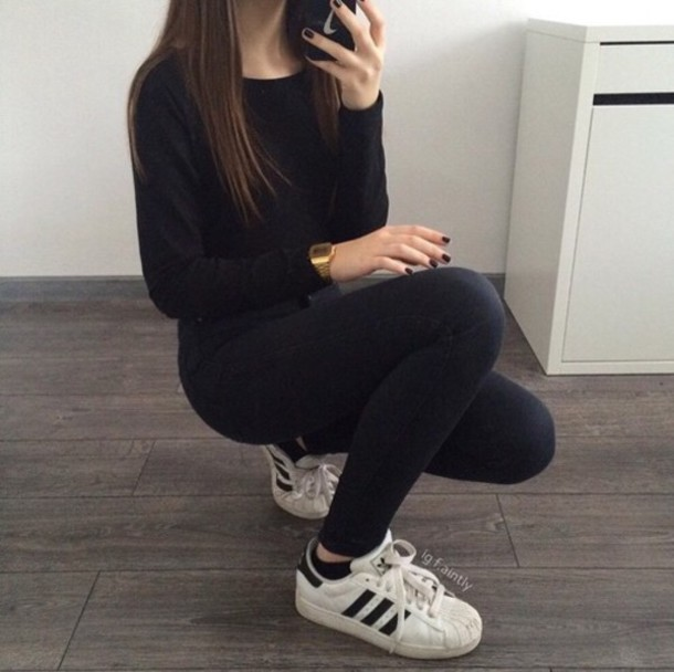 shoes nike jeans shirt sweater streetwear outfit gold watch nail polish phone cover adidas shoes stripes stripes white sneakers
