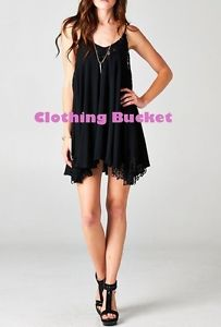 NWT BLACK BOHO BABE EMBROIDERED LACE TRIM MINI DRESS CLOTHING BUCKET M/L