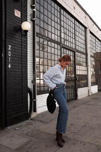 teetharejade blogger blouse jeans shoes bag make-up jewels
