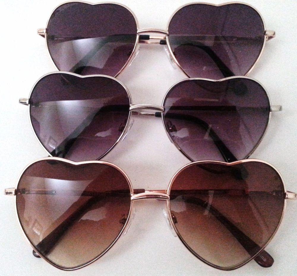 Heart Shaped Sunglasses Silver or Gold Metal Frame Gradient Lenses | eBay
