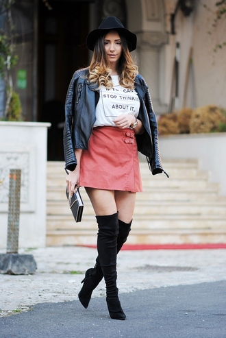 let's talk about fashion ! blogger bag jewels leather jacket black hat quote on it white top pink skirt mini skirt knee high boots suede boots