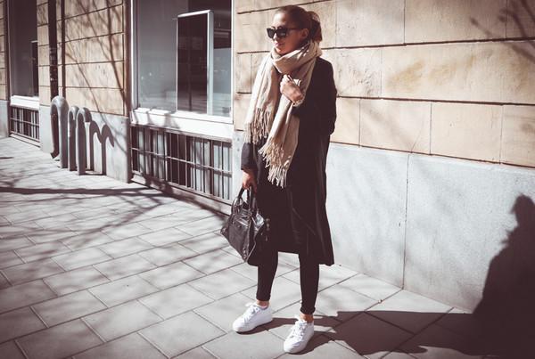 kenza shoes coat jeans scarf bag