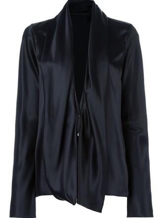 shirt collar shirt draped black top