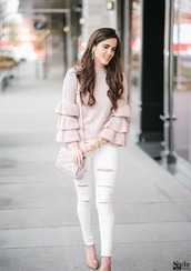 sweater,ruffle pink sweater,ruffle sleeves,spring,cute,white torn jeans,white jeans,jeans