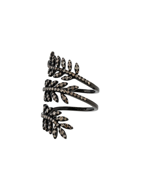 ROSA DE LA CRUZ women triple ring gold black jewels