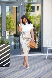 skirt,pencil skirt,shirt,pumps,boxed bag,blogger,blogger style,satin skirt,midi skirt,handbag