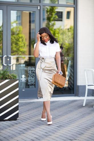 skirt pencil skirt shirt pumps boxed bag blogger blogger style satin skirt midi skirt handbag