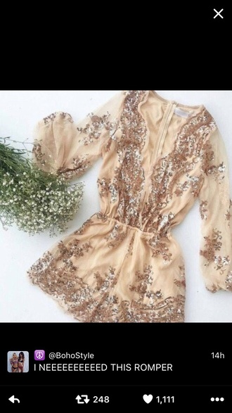 romper gold cream sparkle shimmer