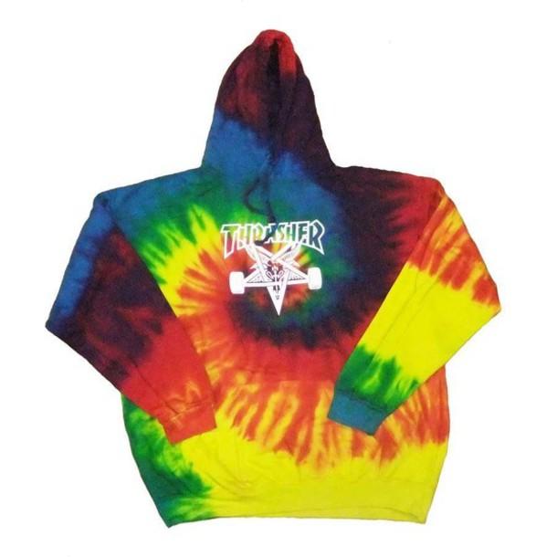 sweater tie dye hoodie rainbow thrasher skater