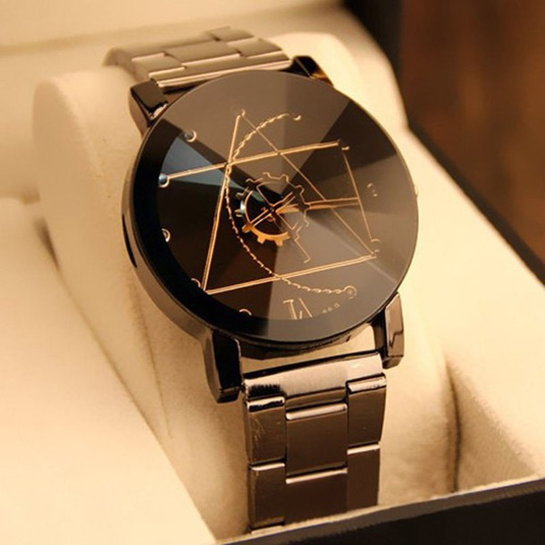 Rosewholesale Gear Geometric Steel Band Quartz Watch in black