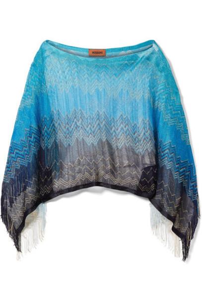 Missoni poncho metallic blue knit crochet top